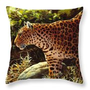 Leopard Painting - On The Prowl Throw Pillow