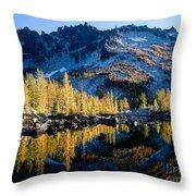 Leprechaun Lake Larch Trees Throw Pillow