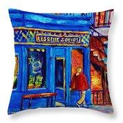 Les Belles Soeurs  Montreal Restaurant Plateau Mont Royal Painting By Carole Spandau Throw Pillow