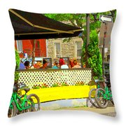 Les Folies De Montreal Cafe Resto Lounge Paris Style Bistro City Scene Carole Spandau Throw Pillow