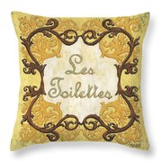 Les Toilettes Throw Pillow by Debbie DeWitt