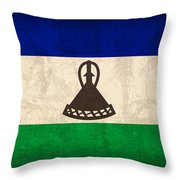 Lesotho Flag Vintage Distressed Finish Throw Pillow