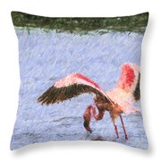 Lesser Flamingo Filter Feeding Lake Nakuru Kenya Throw Pillow