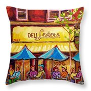 Lester's Deli Montreal Smoked Meat Paris Style French Cafe Paintings Carole Spandau Throw Pillow
