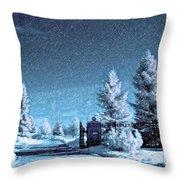 Let It Snow Blue Version Throw Pillow