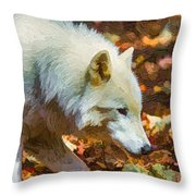 Let The Timber Wolf Live Throw Pillow by John Haldane