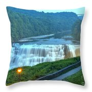 Letchworth Middle Falls Lights Throw Pillow
