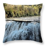 Letchworth State Park Middle Falls In Autumn Throw Pillow