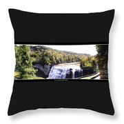 Letchworth State Park Middle Falls Panorama Throw Pillow