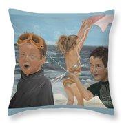 Beach - Children Playing - Kite Throw Pillow by Jan Dappen