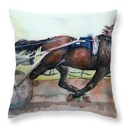 Racehorse Painting In Watercolor Let's Roll Throw Pillow