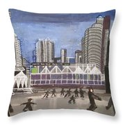 Let's Skate At Habourfront Centre Throw Pillow