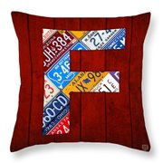 Letter F Alphabet Vintage License Plate Art Throw Pillow