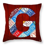 Letter G Alphabet Vintage License Plate Art Throw Pillow