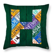 Letter H Alphabet Vintage License Plate Art Throw Pillow by Design Turnpike