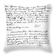Letter To Voltaire From King Frederick Throw Pillow