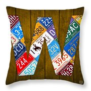 Letter W Alphabet Vintage License Plate Art Throw Pillow