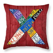 Letter X Alphabet Vintage License Plate Art Throw Pillow