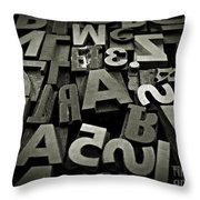 Letters And Numbers Gray Tones Throw Pillow