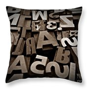 Letters And Numbers Sepia 2 Throw Pillow