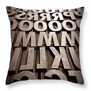 Letters Sepia Throw Pillow