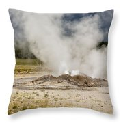 Letting Off Steam - Yellowstone Throw Pillow