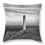 Levant To Pendeen View Black And White Throw Pillow