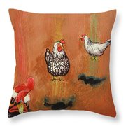 Levitating Chickens Throw Pillow