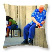 L'homme Orange Quiet Corner On St Catherine Street Downtown Montreal City Scene Carole Spandau Throw Pillow