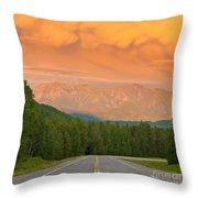 Liard River Valley Alaska Highway Bc Canada Sunset Throw Pillow