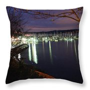 Liberty Bay At Night Throw Pillow
