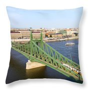 Liberty Bridge And Budapest Skyline Throw Pillow