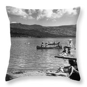 Liberty Lake Summer Leisure In 1940 Throw Pillow