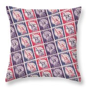Liberty Stamps Collage Throw Pillow