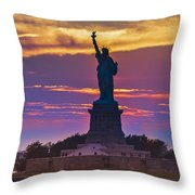 Liberty Statue Silhouette Sunset Throw Pillow