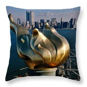 Liberty's Flame Throw Pillow by Benjamin Yeager