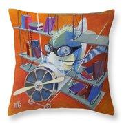 Librarian Pilot Throw Pillow by Marina Gnetetsky