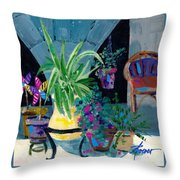 Library Courtyard-rhodes Old Town Throw Pillow