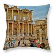Library Of Celsus In Ephesus-turkey Throw Pillow