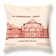 Library Of Congress Design 1877 Throw Pillow by Mountain Dreams