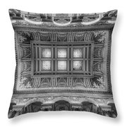 Library Of Congress Main Hall Ceiling Bw Throw Pillow