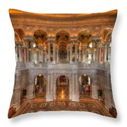 Library Of Congress Throw Pillow by Steve Gadomski