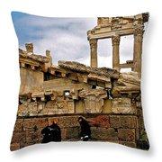 Library On The Pergamum Acropolis-turkey Throw Pillow