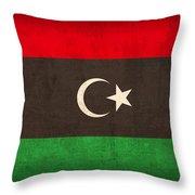 Libya Flag Vintage Distressed Finish Throw Pillow