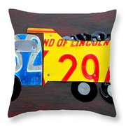 License Plate Art Dump Truck Throw Pillow