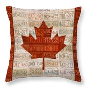 License Plate Art Flag Of Canada Throw Pillow