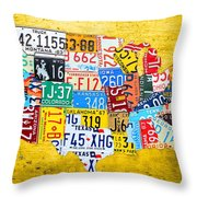 License Plate Art Map Of The United States On Yellow Board Throw Pillow by Design Turnpike