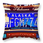 License Plate Throw Pillow