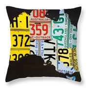 License Plate Map Of Australia Throw Pillow