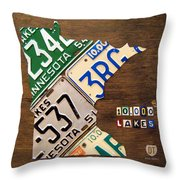 License Plate Map Of Minnesota By Design Turnpike Throw Pillow